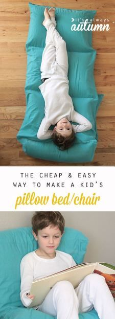 Sewing Patterns Diy so cute! the cheapest and easiest way to make a kids' pillow bed. free sewing pattern and tutorial for a great DIY Christmas gift idea. - learn how to make a pillow bed or pillow chair for kids the cheap Sewing Hacks, Sewing Tutorials, Sewing Crafts, Sewing Tips, Sewing Ideas, Tutorial Sewing, Sewing Patterns Free, Free Sewing, Sewing For Kids