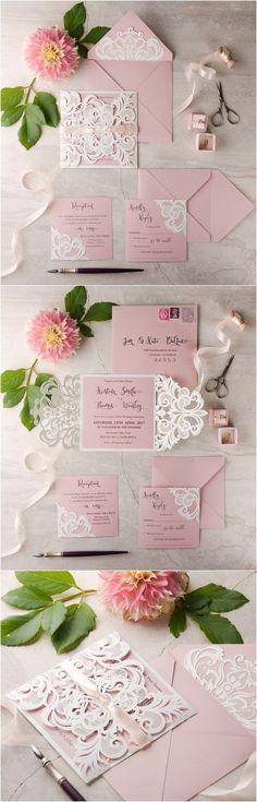 pink laser cut wedding invitations 08LuctGGz / http://www.deerpearlflowers.com/laser-cut-wedding-invitations/