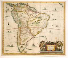 Antique Map Janssonius South America HR - high resolution image from old book. Vintage Maps, Antique Maps, Vintage Wall Art, All World Map, Adventure Symbol, South America Destinations, Amazon River, Old Maps, Historical Maps