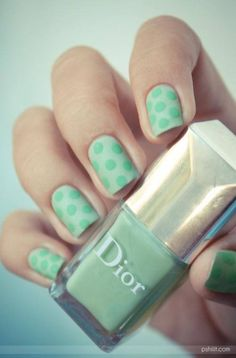 Pretty mint + polka dots #manicure