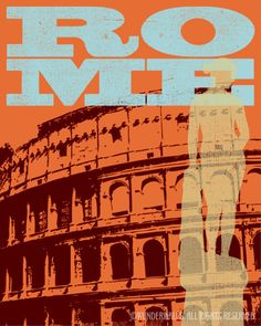 Rome graphic poster with the Colosseum.