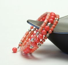 AAA Salmon Coral and Pink Coral Gemstone Memory Wire Bracelet