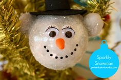 sparkly snowman ornament, christmas decorations, crafts, seasonal holiday decor, This jolly snowman sparkles and he s sure to make you smile