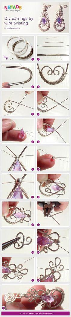 diy earrings by wire twisting #Wire #Jewelry #Tutorials