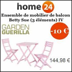 #missbonreduction; remise de 10€ sur l'Ensemble de mobilier de balcon Betty Sue (3 éléments) IV. http://www.miss-bon-reduction.fr//details-bon-reduction-Home24-i854755-c1834777.html