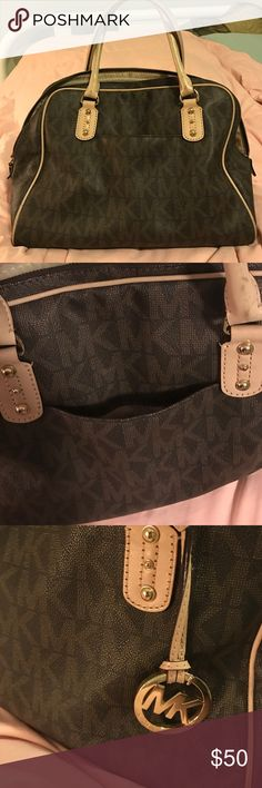 Michael Kors Handbag MK Handbag. Shows use on handles and a few spots on inside of purse but still in great condition in my opinion. Michael Kors Bags Satchels