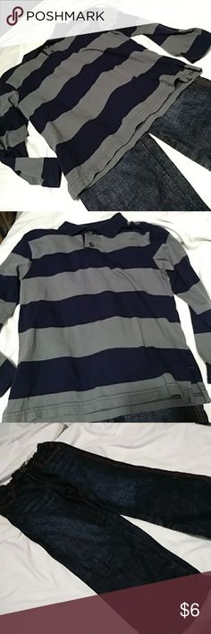 Wrangler Jeans and Children's Place Shirt 4T Jeans and long sleeve stripped shirt. Wrangler Matching Sets