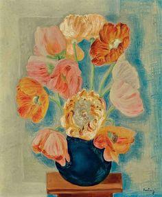 Flowers, Moise Kisling. French Painter, born in Poland (1891 - 1953)