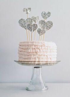 corações, glitter, topo de bolo