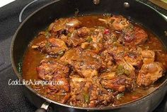 Jamaican Brown Stew Chicken Recipe Main Dishes with chicken, salt, black pepper, sugar, garlic, scallions, cooking oil, onions, green bell pepper, thyme, pepper sauce, tomato ketchup, hot water, salt