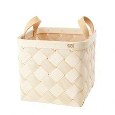 Lastu birch basket M, leather handles
