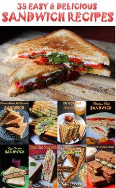 35 Easy Sandwich Recipes..Delicious Sandwich Recipes..Veg & Non Veg Sandwich Recipes.. Recipe: http://www.yummytummyaarthi.com/2015/07/35-easy-sandwich-recipes-veg-non-veg.html