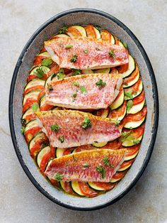 Red Mullet on Baked Provencal Vegetables by Tom Kerridge. http://www.gloucestershireecho.co.uk/Chef-Tom-Kerridge-reveals-Best-Dishes/story-22848878-detail/story.html