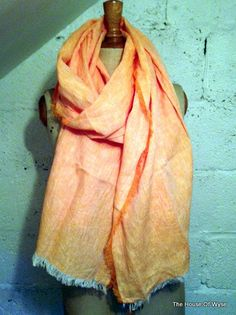 Orange Linen & Cotton Mix Scarf by TheHouseOfWyse on Etsy