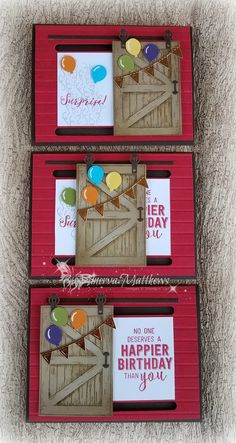 Birthday Cards, using Barn Door, Wood grain and Baloon Adventures stamp sets, Sliding Door Framelits dies and balloons mini punch, all from Stampin' Up! - The barn door slides side to side and makes this card so cute for a birthday of any age! 3d Cards, Pop Up Cards, Cute Cards, Fancy Fold Cards, Folded Cards, Joy Fold Card, Slider Cards, Interactive Cards, Stamping Up Cards