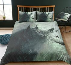 3d Bedding Sets, Unique Bedding, Modern Bedding, Comforter Sets, White Wolf, Black And White, Blanket Cover, Cotton Duvet, White Bedding