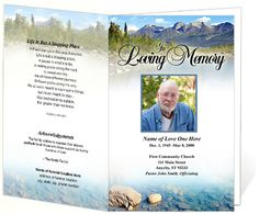 Funeral Program Sample of an Sierra Outdoor Themed Template Design Example