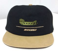 43a6c6c595bc76 vtg htf BOEING CHINOOK HELICOPTER SNAPBACK HAT Black/Tan/Green Military  Army Cap #