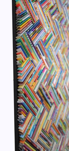 Colorful herringbone wall art made from recycled | Etsy