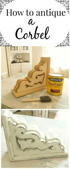 Add architectural interest to your home plus get this tip on how to age / antique wood like this corbel!