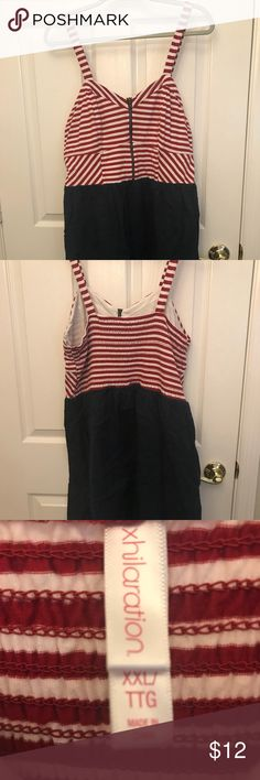 Patriotic dress My closet tis of thee! This red-and-white striped dress with a navy bottom is perfect for your Independence Day picnic, but it's subtle enough that you can wear it anytime this summer! Xhilaration Dresses Mini