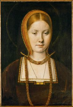 Katharine of Aragon, c1502, by Michael Sittow, King Henry VII's court painter. Katharine had arrived in England in 1501 to marry Prince Arthur Tudor, the son and heir of Henry VII. They were married in November 1501 and within six months Arthur was dead. This portrait was painted after their brief marriage.