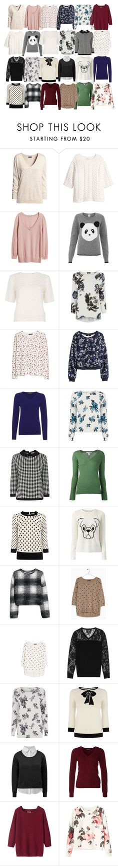 """""""Lydia Inspired UK Friendly Sweaters"""" by veterization ❤ liked on Polyvore featuring H&M, Yumi, Quiz, Warehouse, MANGO, Jaeger, Oasis, Autumn Cashmere, Fashion Union and Reiss"""