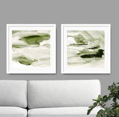 Set Of 2 Prints Abstract Art Print Green Canvas 20x20