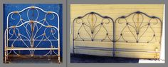 Creating two matching headboards from one complete bed. Raised the footboard up to height of existing headboard. Cutting and welding required. Vintage Bed Frame, Antique Iron Beds, Interior Styling, Headboards, Antiques, Welding, House, King, Furniture