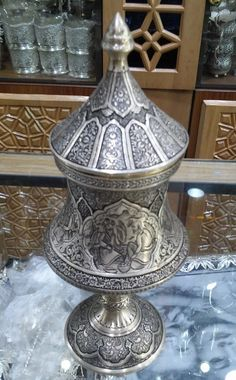 Decorative Persian Silver Vase - Fine Engraving on Silver