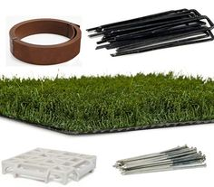 Hardscaping 101 Artificial Turf Installation ; Gardenista / Installing artificial grass is like laying carpet; you want to stretch it tightly atop a secure base and hide the seams. Installers use a variety of products. A perimeter of (Top L) Bender Board can create a solid edge. A platform of plastic (Bottom L) PDS Drainage Tiles can lift turf above wet surfaces. (Top R) Staples close seams and (Bottom R) Spikes along the perimeter keep edges flat. For more, see Easy Turf.