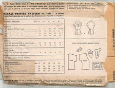 Vintage 40s Blouse Pattern 1940s McCall 7844 xs 30 di weezieduzzit