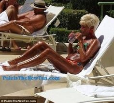 Dark and oily: Some would call these two 'tanorexic! Stick a fork in her Martha, she's done! Who in there right mind wants skin like leather!
