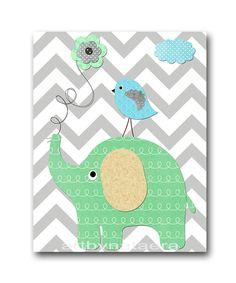 Mint Gray Blue Beige Elephant Nursery Art Printable Art Digital Print Instant Download Digital Download Art Baby Boy Nursery Art 8x10 11X14 by nataeradownload on Etsy