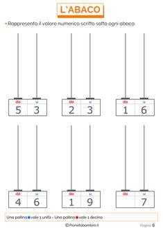 Esercizi sull'Abaco da Stampare per la Scuola Primaria | PianetaBambini.it First Grade Worksheets, Kindergarten Math Worksheets, Teaching Place Values, Math 2, Math For Kids, Grade 1, Bar Chart, School, Film