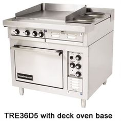 "Heavy-Duty Range, 36"", electric, (1) 24"" x 24"" x 1/2"" griddle, (2) round hotplates, standard depth, deck oven base, 1 oven rack, stainless steel exterior, 6"" NSF legs, hatchable, 21 kw"
