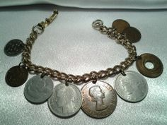 Vintage Estate Gold Silver Copper?Brass? International Coin Money Charm Bracelet