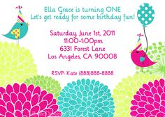 Birthday Party Invitation - Party Birds - Digital File. $13.00, via Etsy.