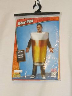Beer Pint Adult Funny Mens Unisex Drinking Glass Halloween Food Costume One Size SOLD
