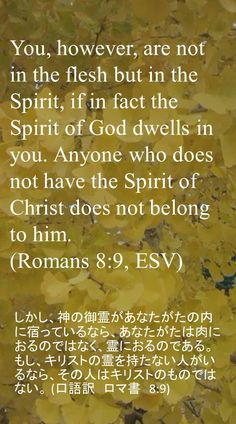You, however, are not in the flesh but in theSpirit, if in fact the Spirit of God dwells inyou. Anyone who does not have the Spirit ofChrist does not belong to him.(Romans 8:9, ESV)しかし、神の御霊があなたがたの内に宿っているなら、あなたがたは肉におるのではなく、霊におるのである。もし、キリストの霊を持たない人がいるなら、その人はキリストのものではない。 (口語訳 ロマ書 8:9)