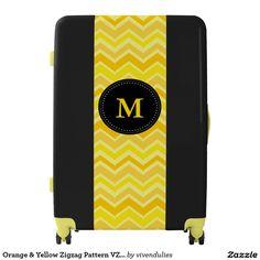 Orange & Yellow Zigzag Pattern VZS2 Luggage