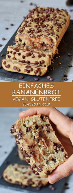 Easy to make Vegan Chocolate Chip Banana Bread which is super soft, moist, and d. - Easy to make Vegan Chocolate Chip Banana Bread which is super soft, moist, and delicious. Chocolate Chip Banana Bread, Chocolate Chip Recipes, Gluten Free Chocolate, Vegan Chocolate, Chocolate Chips, Vegetarian Chocolate, Chocolate Desserts, Dessert Sans Gluten, Vegan Dessert Recipes