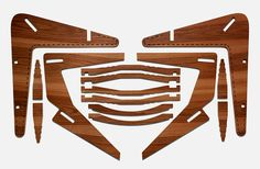 """Brian Raby, cnc chair, bolivian jatoba. ships flat. """"Three chairs can be routed from a single sheet of FSC-certified plywood"""""""