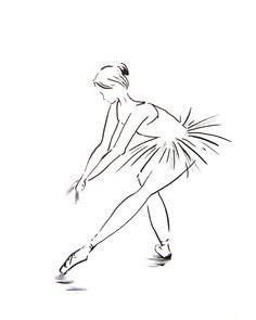 Ballet Wall Art, Minimalist Ballerina Drawing, Art Print from Ink Drawing, Black and White Modern Dance Art