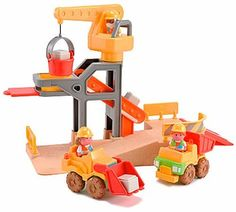 Busy Worksite by Early Learning Centre. $49.99. Put on your imaginary hard hat - it's building time! Construction Site Playset is the perfect toy for all curious toddlers. Featuring a fun construction site complete with a towering crane and a twisty ramp, the Construction Site Playset offered by Educational Toys Planet will keep your little construction worker busy for hours. This toddler activity toy also includes 3 construction workers, a cool dumper, a fun bulldozer, 5 cement ...