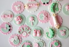 Baby Shower Fondant Cupcake Toppers - Pink Baby Shower Fondant Toppers - Perfect For Cookies, Cupcakes And Other Edible Treats by Les Pop Sweets on Gourmly