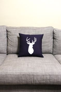 Navy and white deer decorator pillow