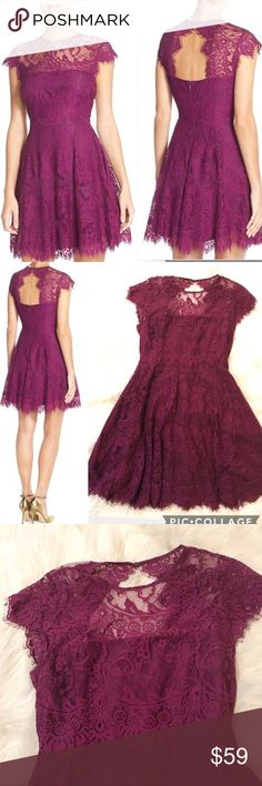 """BB Dakota aubergine Rhianna Lace Fit Flare Dress Rare in this color and this size! Flawless. Illusion yoke Lace fit and flare with stunning cutout back. Lined throughout body   Hidden back zip, cap sleeves. This photographs red but it is more purple irl. Size 8. 15.5"""" shoulders 36"""" bust 29"""" waist 35.5"""" overall length. BB Dakota Dresses"""