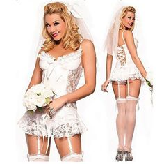 Sexy White Bridal Lingerie Costumes Dress with Lace Up Back Design