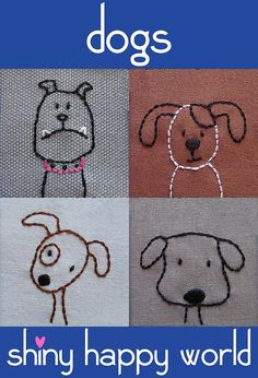 Etsy の Embroidered Dogs PDF pattern by ShinyHappyWorld